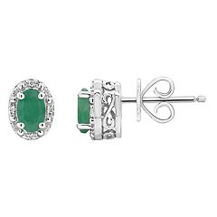 Sterling Silver Oval Genuine Emerald Diamond Accent Stud Earrings