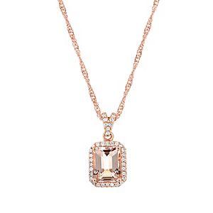 Sterling Silver Emerald Cut Morganite 1/6 Carat T.W. Diamond Halo Pendant Necklace