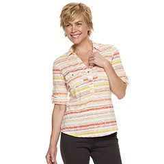 Women's Cathy Daniels Striped Roll-Tab Shirt
