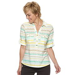 Women's Cathy Daniels Striped Roll-Tab Shirt