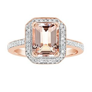 14k Rose Gold Over Silver Emerald Cut Morganite & 1/4 Carat T.W. Diamond Halo Ring