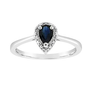 Sterling Silver Pear-Shaped Genuine Sapphire Diamond Accent Frame Ring