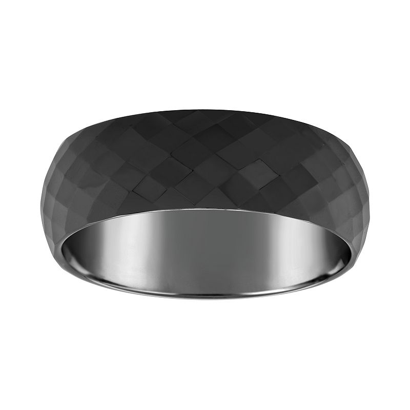 Men's 7.5mm Faceted Ceramic Wedding Band Ring, Size: 11, Black