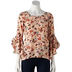 Petite LC Lauren Conrad Ruffle Sleeve Split-Back Top