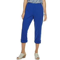 3b832fe72 Women's Cathy Daniels Nautical Pull-On Capris. White Royal