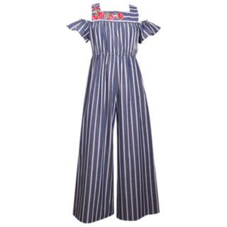 Girls 7-16 & Plus Size Bonnie Jean Striped Cold Shoulder Jumpsuit