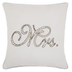 Kathy Ireland Beaded 'Mrs.' Throw Pillow