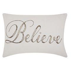 Kathy Ireland Beaded 'Believe' Throw Pillow