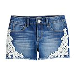 Girls 7-16 & Plus Size Mudd® Floral Crochet Trim Shorts