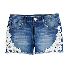 Girls 7-16 & Plus Size Mudd® Floral Crochet Trim Shorts