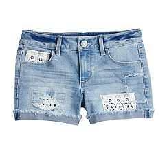 Girls 7-16 & Plus Size Mudd® Crochet Pocket & Trim Jean Shorts