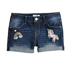 Girls 7-16 & Plus Size Mudd® Unicorn & Rainbow Patches Denim Shorts
