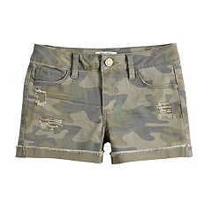 Girls 7-16 & Plus Size Mudd® Distressed Camouflage Shorts