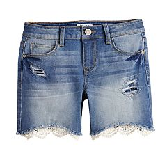 Girls 7-16 & Plus Size Mudd® Crochet Hem Distressed Denim Shorts