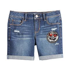 Girls 7-16 & Plus Size Mudd® Emoji Sequin Patch Denim Shorts