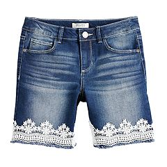Girls 7-16 & Plus Size Mudd® Lace Trim Bermuda Shorts