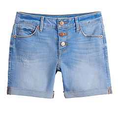Girls 7-16 & Plus Size Mudd® 3-Button Raw Cuff Denim Midi Shorts