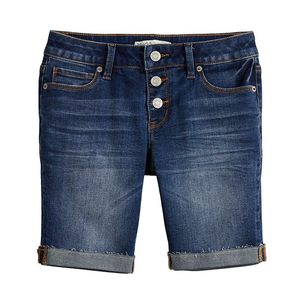 Girls 7-16 & Plus Size Mudd® 3-Button Raw Cuff Denim Bermuda Shorts