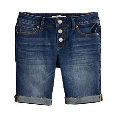 Girls 7-16 & Plus Size Mudd® 3-Button Raw Cuff Denim Bermuda Shorts