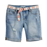 Girls 7-16 & Plus Size Mudd® Belted Denim Bermuda Shorts