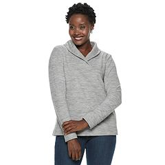 Women's Croft & Barrow® Shawl Collar Fleece Sweatshirt