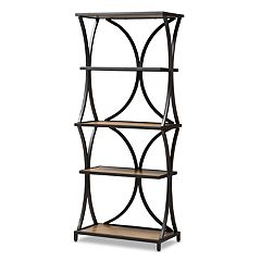 Baxton Studio Industrial Brown & Black Bookshelf