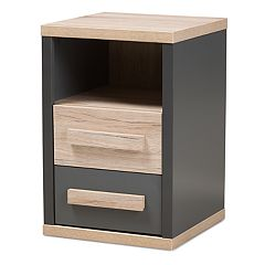 Baxton Studio Modern Two-Tone 2-Drawer Nightstand