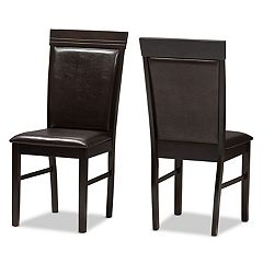 Baxton Studio Modern Espresso Faux-Leather Dining Chair 2-piece Set