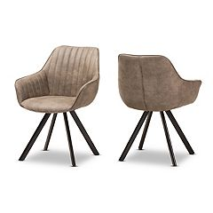 Baxton Studio Brown Mid-Century Dining Chair 2-piece Set