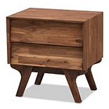 Baxton Studio Mid-Century 2-Drawer Nightstand