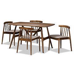 Baxton Studio Mid-Century Walnut Finish Dining Chair & Table 5-piece Set