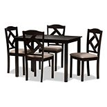 Baxton Studio Modern Beige Upholstered Chair & Table Dining 5-piece Set