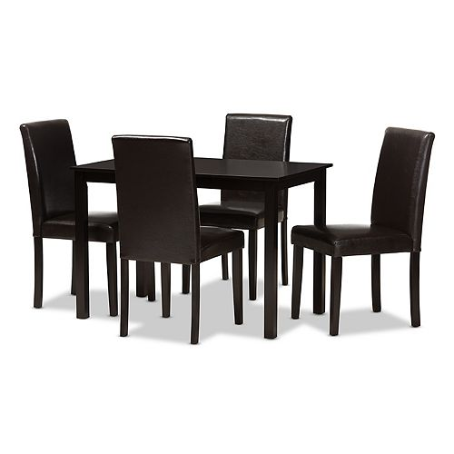 Baxton Studio Modern Solid Espresso Chair & Table Dining 5-piece Set