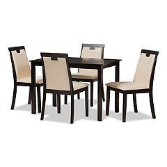 Baxton Studio Modern Beige T-back Chair & Table Dining 5-piece Set