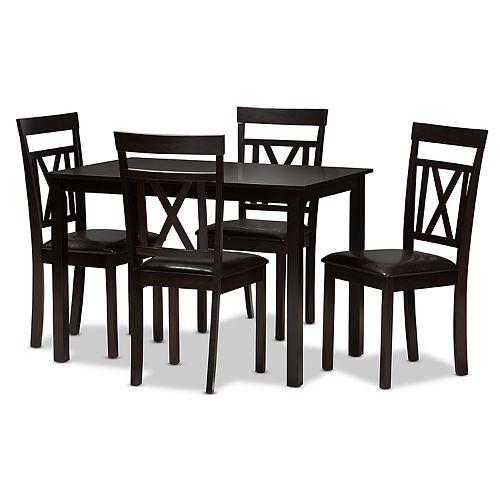 Baxton Studio Modern Espresso X-Back Chair & Table Dining 5-piece Set