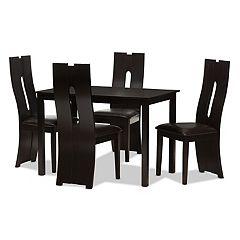 Baxton Studio Modern Espresso Curved Chair & Table Dining 5-piece Set