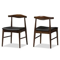 Baxton Studio Mid-Century Walnut Dining Chair 2-piece Set