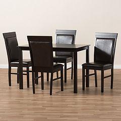 Baxton Studio Modern Espresso Chair & Table Dining 5-piece Set