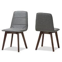 Baxton Studio Mid-Century Dark Gray Dining Chair 2-piece Set