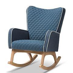 Baxton Studio Mid-Century Blue Rocking Chair