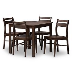 Baxton Studio Modern Espresso Ladder Back Chair & Table Dining 5-piece Set
