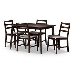 Baxton Studio Modern Gray Ladder Back Chair & Table Dining 5-piece Set