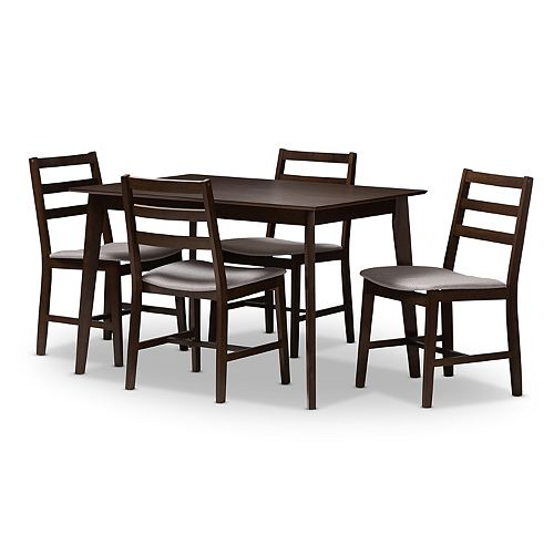Baxton Studio Modern Gray Ladder Back Chair & Table Dining 5-piece Set