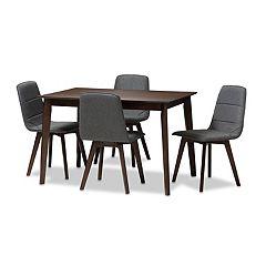 Baxton Studio Mid-Century Dark Gray Textured Upholstered Chair & Table Dining 5-piece Set
