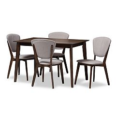 Baxton Studio Mid-Century Gray Cahir & Table Dining 5-piece Set