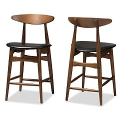 Baxton Studio Mid-Century Black Counter Stool 2-piece Set