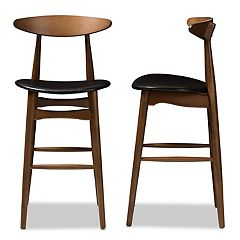 Baxton Studio Mid-Century Black Bar Stool 2-piece Set