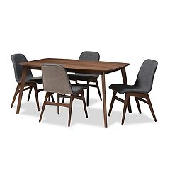 Baxton Studio Mid-Century Gray Curved Seat Chair & Table Dining 5-piece Set