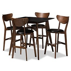 Baxton Studio Mid-Century Black Stool & Table Pub 5-piece Set