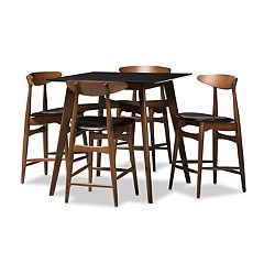 Baxton Studio Mid-Century Two-toned Stool & Table Pub 5-piece Set